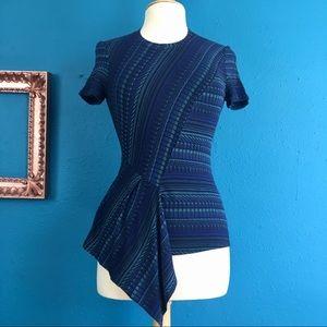 BCBG blue patterned asymmetrical top, XXS